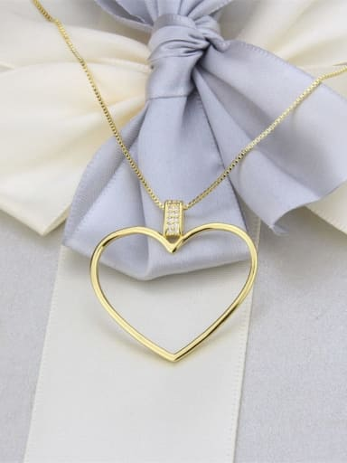 Brass Minimalist Hollow Heart Pendant  Necklace