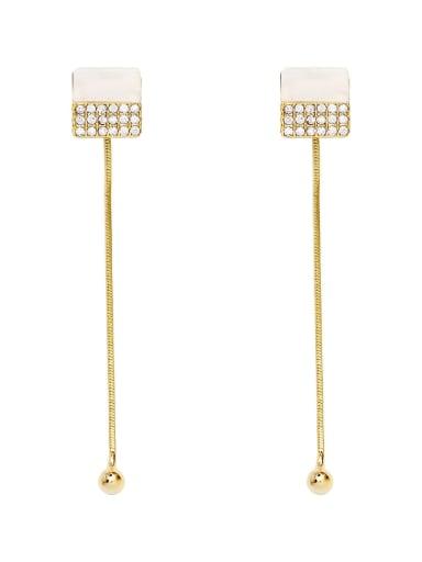 Copper Shell Geometric Dainty Threader Earring