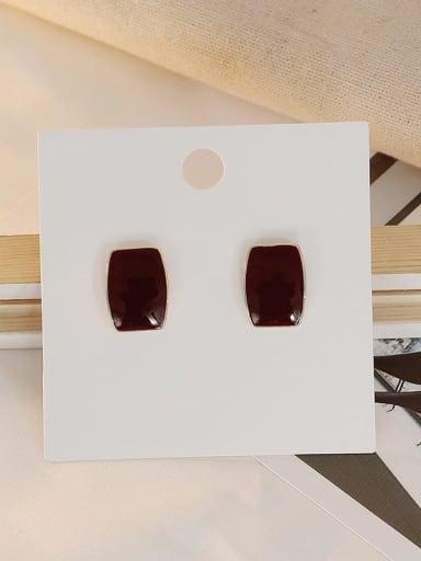 claret Copper Enamel Geometric Vintage Stud Earring