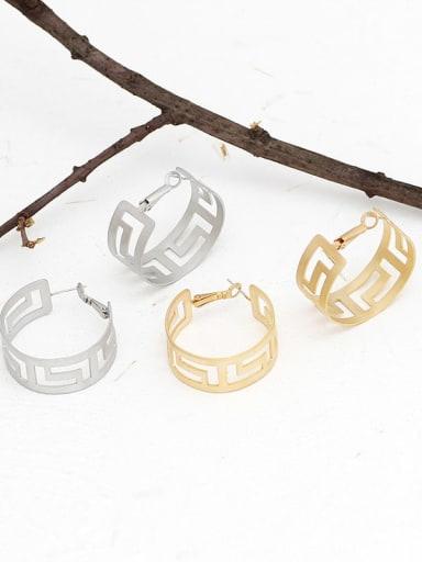 Copper Hollow Geometric Minimalist Huggie Earring