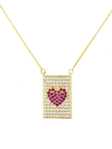 Gold Plated Red zircon Brass Cubic Zirconia Heart Dainty Necklace