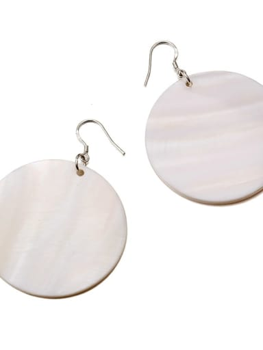 White Large 925 Sterling Silver Shell Round Minimalist Drop Earring