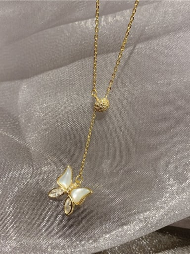 Mixed Metal Shell Beige Butterfly Cute Lariat Necklace