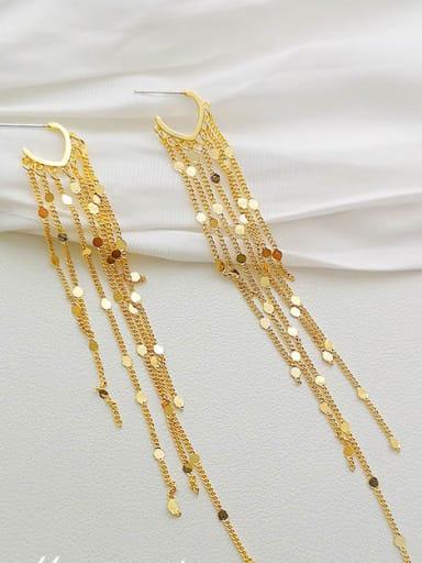 14K gold Copper Tassel Dainty Threader Earring