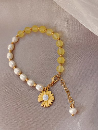 yellow Alloy Imitation Pearl Flower Ethnic Adjustable Bracelet