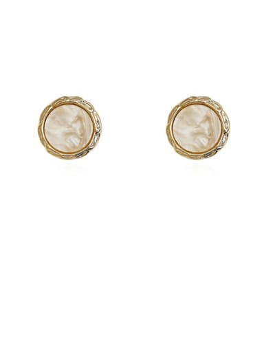 14K Gold Beige Copper Acrylic Round Vintage Stud Earring
