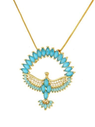blue Brass Cubic Zirconia Religious Bird Dainty Necklace