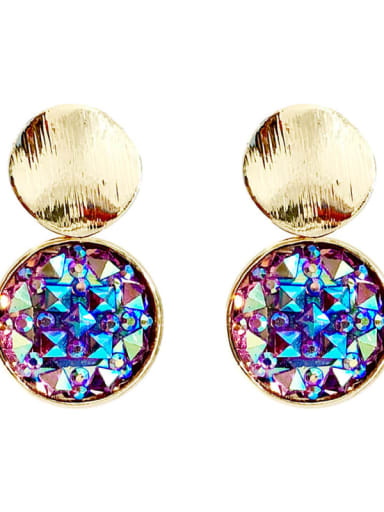 Mixed Metal Crystal Multi Color Round Trend Drop Earring
