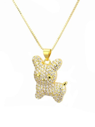 gold-plated Brass Rhinestone White Dog Cute Necklace
