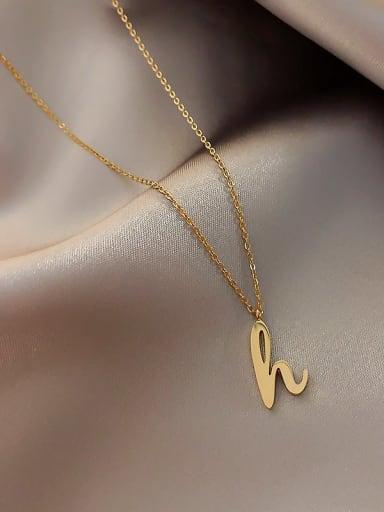 Titanium Letter-H Minimalist Initials Necklace