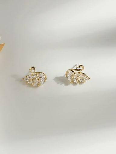 14K gold Copper Cubic Zirconia Swan Cute Stud Earring