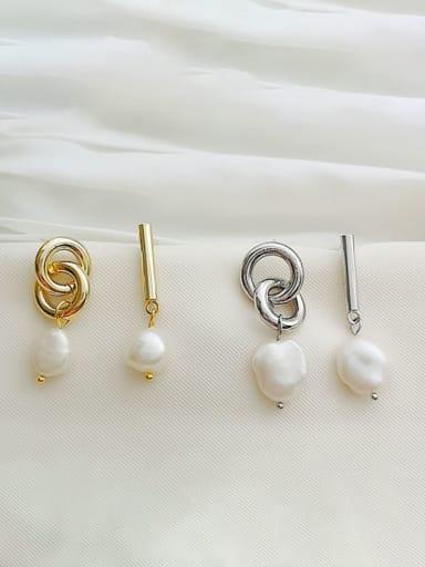Copper Imitation Pearl Geometric Dainty Drop Earring