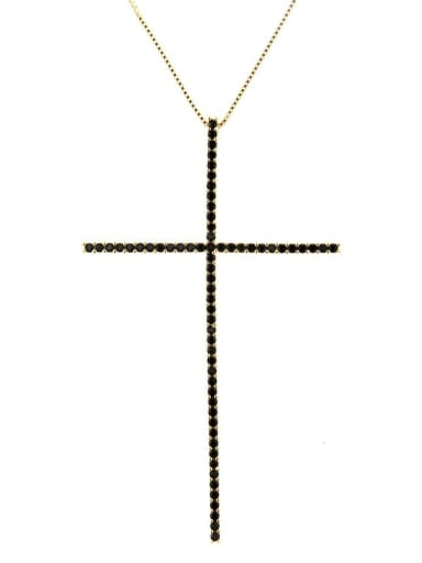 Gold Plated Black zircon Brass Cubic Zirconia Religious Minimalist Regligious Necklace