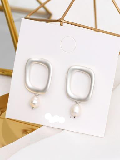Dumb Silver Copper Imitation Pearl Geometric Minimalist Drop Earring