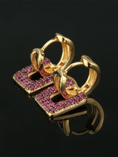 Gold Plated Red zircon Brass Cubic Zirconia Square Luxury Huggie Earring