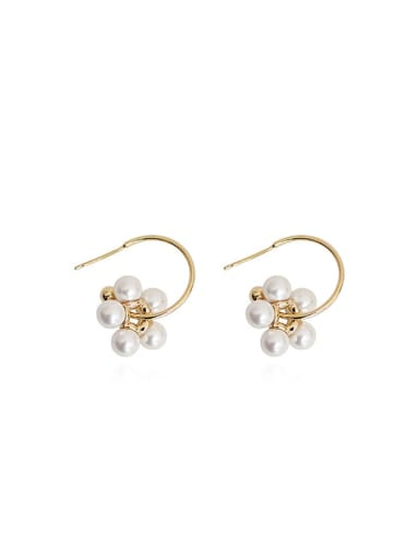 Copper Imitation Pearl Flower Minimalist Hook Earring
