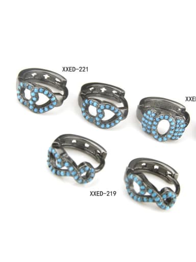 Brass Rhinestone Geometric Vintage Huggie Earring