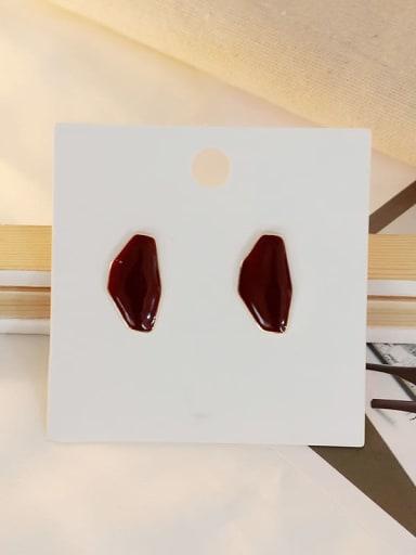 claret Copper Enamel Geometric Ethnic Stud Earring