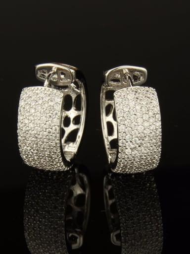 Brass Cubic Zirconia Round Luxury Huggie Earring