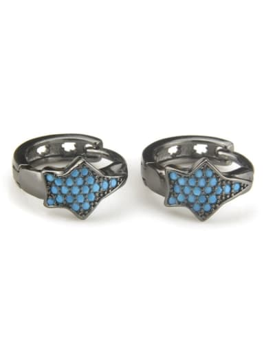 XXED 217 Brass Cubic Zirconia Star Vintage Huggie Earring