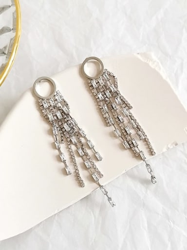 White K Copper Cubic Zirconia Tassel Luxury Threader Earring