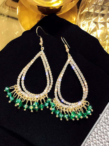 ear hook. Green Crystal Alloy Rhinestone Water Drop Luxury Hook Earring