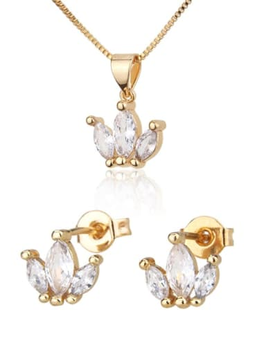Brass  Irregular  Cubic Zirconia Earring and Necklace Set
