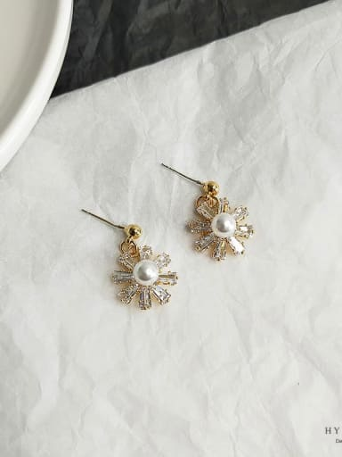14k gold Copper Cubic Zirconia Flower Dainty Stud Earring