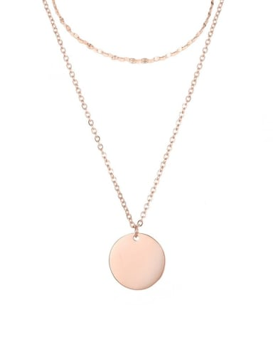 rose gold Stainless steel Round Minimalist Necklace