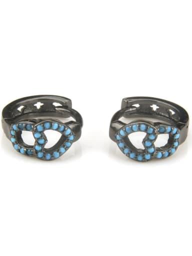 XXED 211 Brass Rhinestone Geometric Vintage Huggie Earring