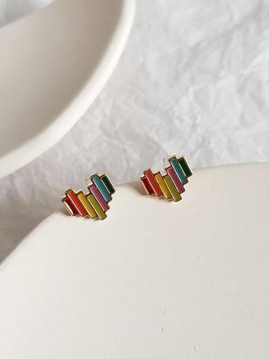 Copper Multi Color Enamel Heart Cute Stud Earring