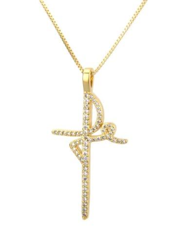 gold-plated Brass Cubic Zirconia Cross Minimalist Regligious Necklace