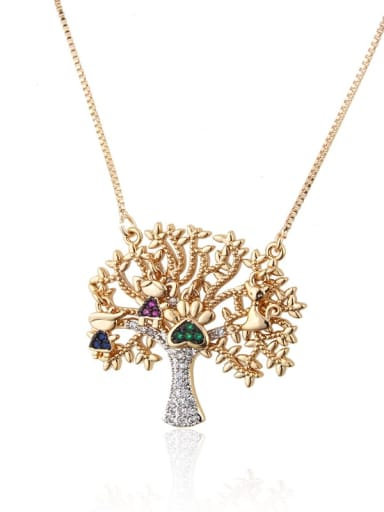 Gold plated color zirconium Brass Rhinestone Tree Dainty Necklace