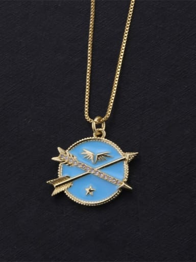 Gold Plated blue Brass Enamel Round Dainty Initials Necklace