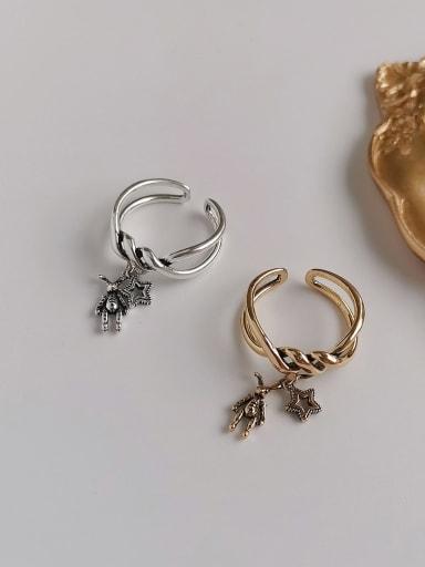Copper Rhinestone  Retro Twisted Rabbit Star  Ring