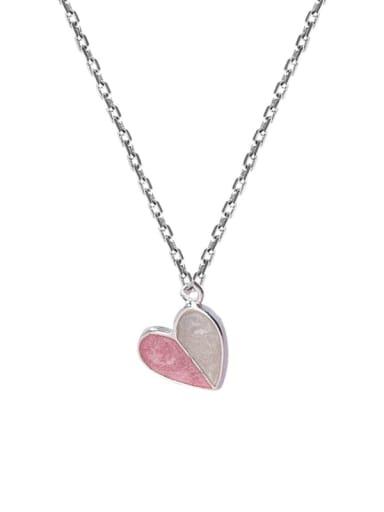 Pink Zinc Alloy Pink Enamel Heart Classic Necklace