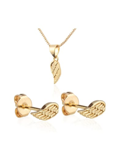 Brass Feather  Earring and Necklace Set