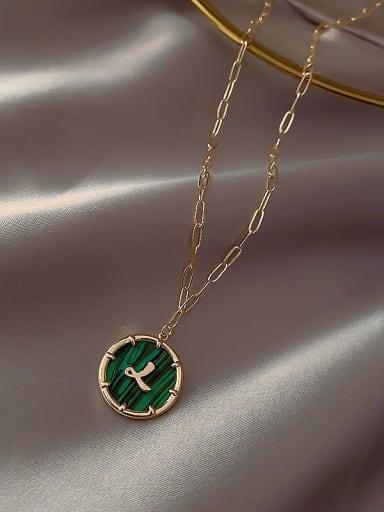 Green(l) Zinc Alloy Green Letter H Trend Initials Necklace