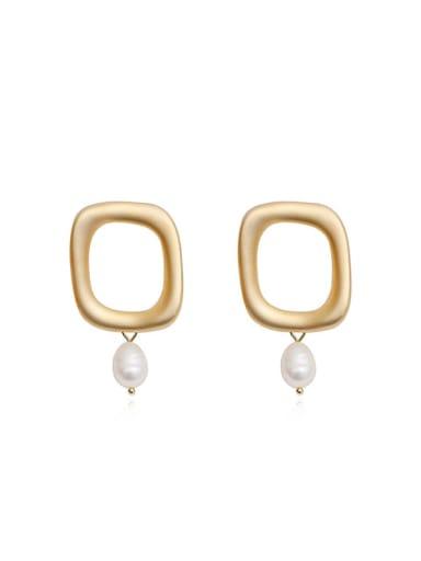 Copper Imitation Pearl Geometric Minimalist Drop Earring