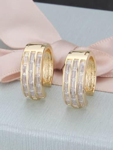 Brass Round Cubic Zirconia  Dainty Clip Earring