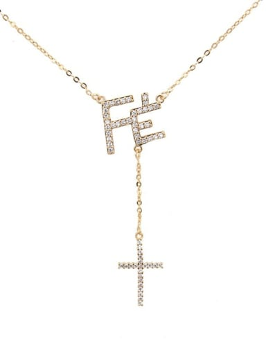 Gold plated white zircon Brass Cubic Zirconia Letter Vintage Lariat Necklace