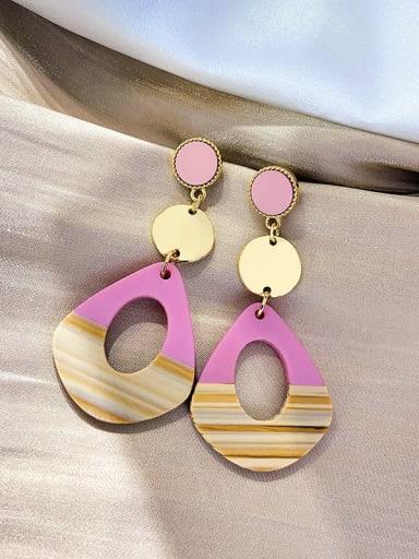 Pink Mixed Metal Resin Multi Color Irregular Trend Drop Earring