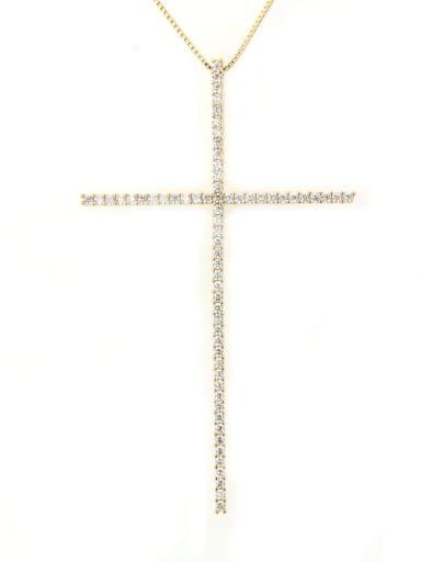 Gold plated white zircon Brass Cubic Zirconia Religious Minimalist Regligious Necklace
