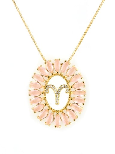 Aries Brass Cubic Zirconia Oval Dainty Initials Necklace