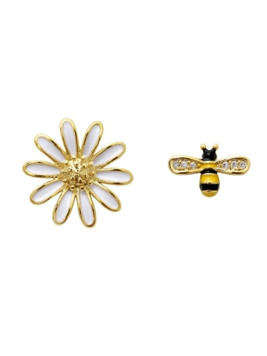 Copper Rhinestone Enamel Cute chrysanthemum Bee asymmetric Stud Earring
