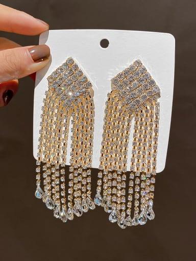 golden Alloy Cubic Zirconia Tassel Statement Cluster Earring