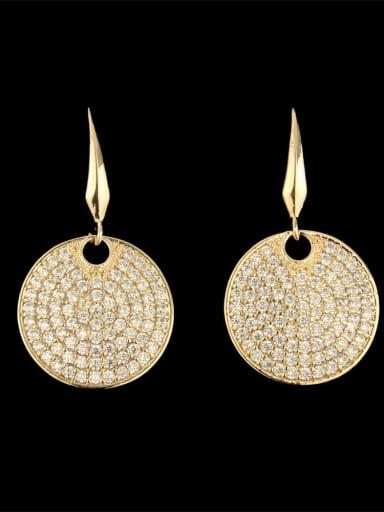 Brass Cubic Zirconia Round Dainty Hook Earring