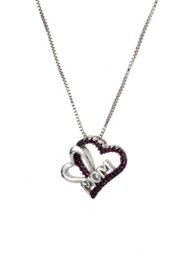 Platinum red zirconium plating Brass Cubic Zirconia Heart Minimalist Necklace