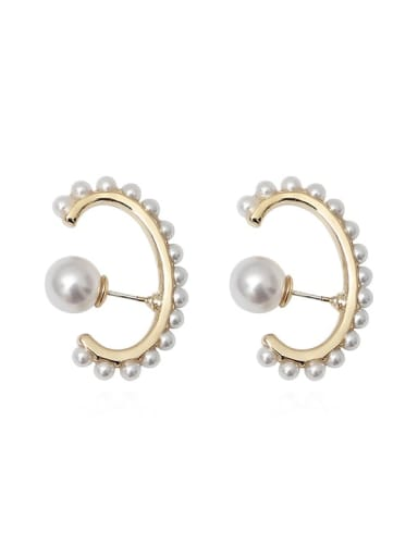 Copper Imitation Pearl Geometric Minimalist Stud Earring