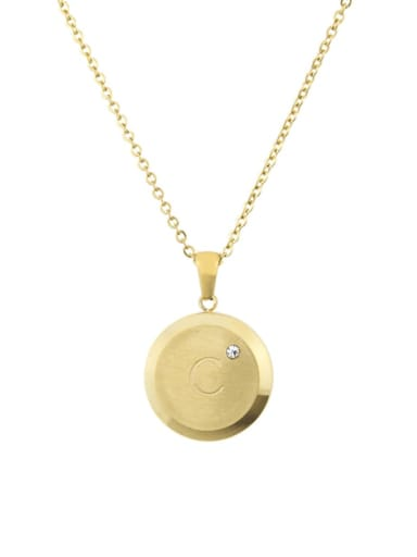 C Titanium Rhinestone 26 Letter Minimalist Initials Necklace